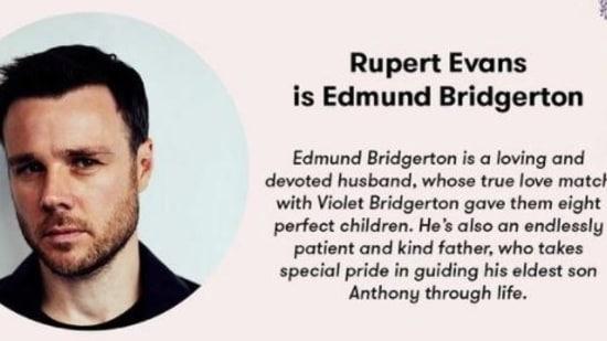 Rupert Evans will play Edmund Bridgerton in the hit show.
