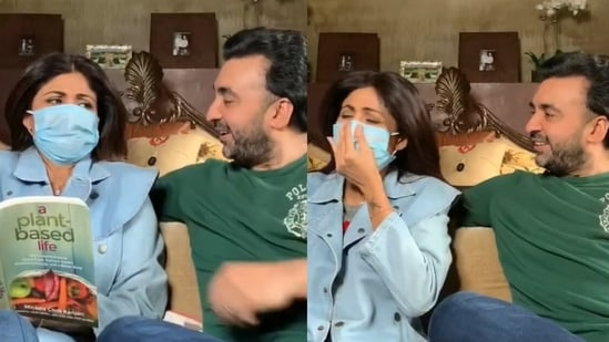 Shilpa Shetty participates in a hilarious sketch with Raj Kundra.