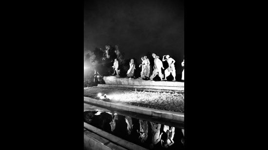 A photograph of the sculpture depicting Dandi March at Delhi's Mother Teresa Crescent, is part of this online exhibition.