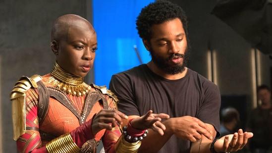 Danai Gurira with Ryan Coogler during Black Panther shoot.