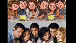 The image shows the whole cast of the popular sitcom Friends on the Amul doodle.