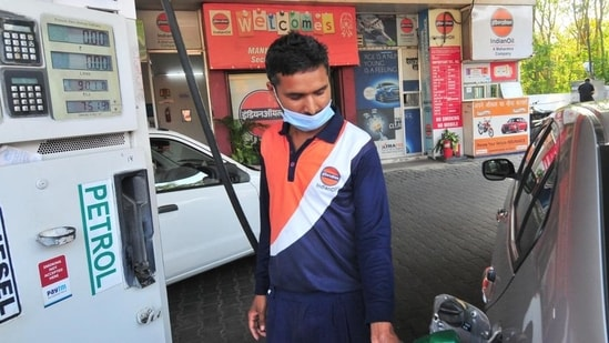 Pump prices of petrol and diesel in Delhi on Saturday also made new records of <span class='webrupee'>₹</span>93.94 per litre and <span class='webrupee'>₹</span>84.89 a litre, respectively. (Ravi Kumar/Hindustan Times)