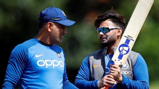 File image of MS Dhoni with Rishabh Pant.(File/Reuters)