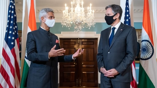 US Secretary of State Antony Blinken (R) and Indian External Affairs Minister Subrahmanyam Jaishankar speak to the media prior a meeting at the State Department in Washington, DC.(REUTERS)