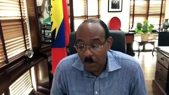 Antigua and Barbuda Prime Minister Gaston Browne speaks to the media. (ANI Photo)