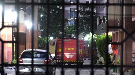 A fireman truck seen inside Saket Court Residential Complex after a fire broke out in the premises, in New Delhi, India, on Saturday, May 29, 2021. (HT Photo)