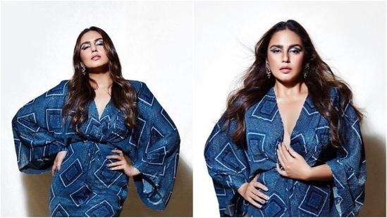 Huma Qureshi in indigo mini kaftan dress(Instagram/who_wore_what_when)