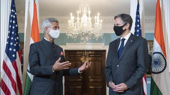 Indian external affairs minister S Jaishankar with US secretary of state Antony Blinken at the state department in Washington, on Friday. (AP)