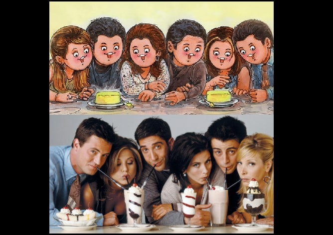 The image shows the whole cast of the popular sitcom Friends on the Amul doodle.(Instagram/@amul_india)