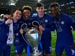 From left to right, Ben Chilwell, Chelsea's Reece James, Chelsea's Kai Havertz, and Chelsea's Tammy Abraham celebrate with the trophy after winning the Champions League final soccer match between Manchester City and Chelsea at the Dragao Stadium in Porto.(AP)