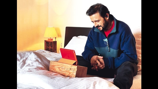 Satyadeep poses in the bedroom at his home in Kumaon for this HT Brunch column