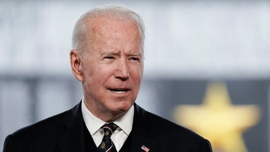 US President Joe Biden delivers remarks at an annual Memorial Day Service at Veterans Memorial Park, Wilmington, Delaware.(Reuters)