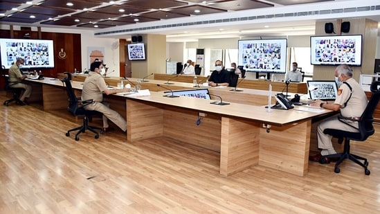Commissioner of Police, Delhi SN Shrivastava holds a covid and crime review meeting through video conferencing ahead of a possible easing out of the Covid lockdown, in New Delhi on Saturday. (ANI Photo)