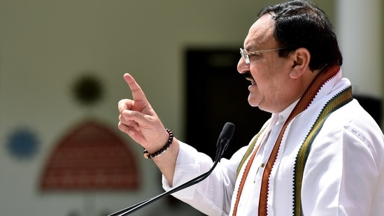 Bharatiya Janata Party (BJP) President Jagat Prakash Nadda speaks before flagging off Covid-19 relief material to be distributed among the people of Delhi, on completion of 7 yrs of Modi government, in New Delhi on Sunday.(ANI Photo)