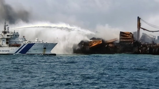 Indian Coast Guard sprays water and foam at high speeds on the blaze on Container Ship MV X-Press Pearl, in Colombo(ANI Photo)