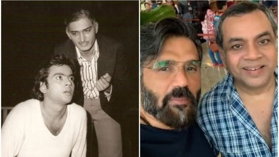 Paresh Rawal with late Shafi Inamdar (left) and with Suniel Shetty.