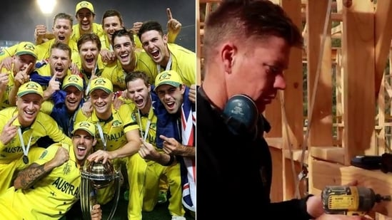 Australian team with World Cup 2015 trophy (L), Former Australian spinner Xavier Doherty (R)(HT Collage)