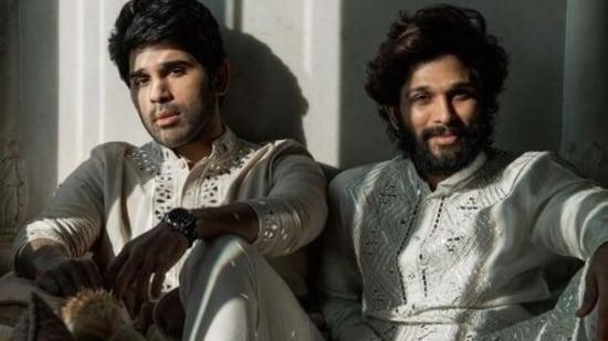 Allu Arjun with Allu Sirish in a throwback picture from their cousin, actor Niharika Konidela's wedding last year.