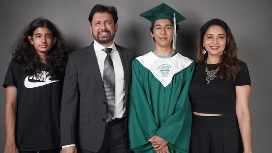 Madhuri Dixit with her husband, Dr Shriram Nene, and their sons, Arin and Ryan.