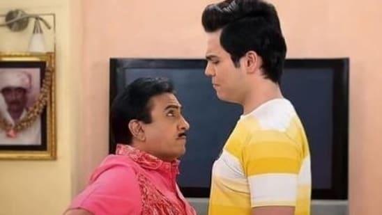 Dilip Joshi and Raj Anadkat in a still from Taarak Mehta Ka Ooltah Chashmah.