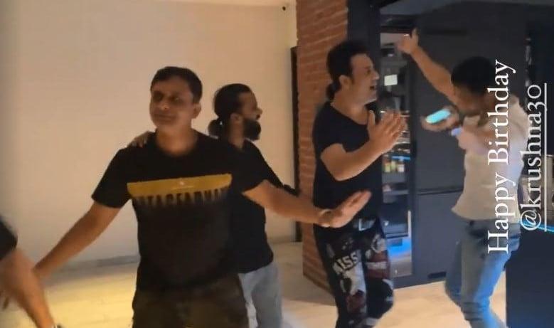 Krushna Abhishek and friends dance at his birthday party.