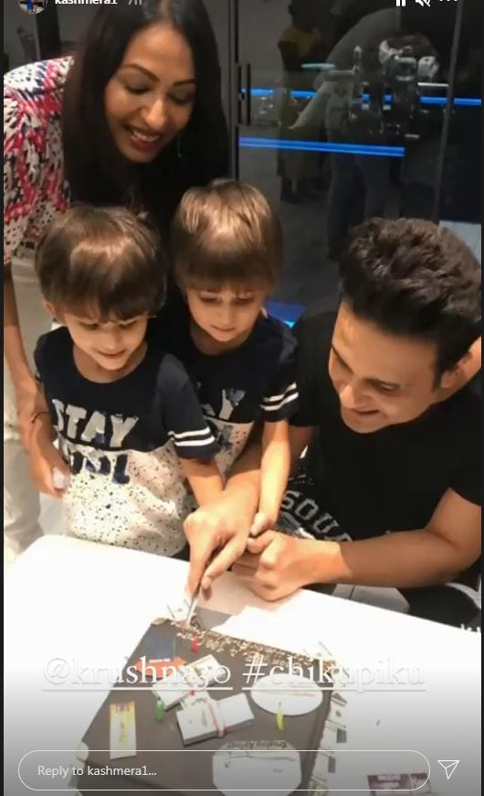 Krushna cuts his birthday cake with family.