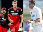 File Photos of RCB players Virat Kohli and Kyle Jamieson (left) and Tim Southee (right).(HT Collage)