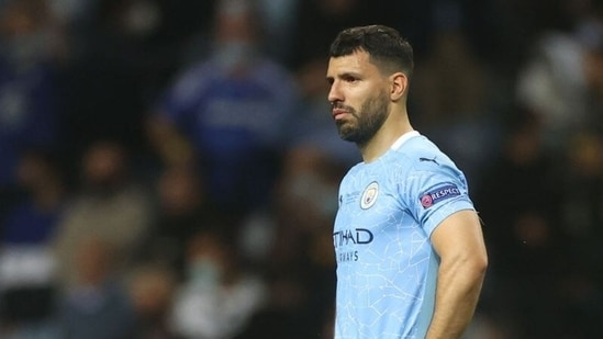 Manchester City's Sergio Aguero looks dejected after the match.(Pool via REUTERS)