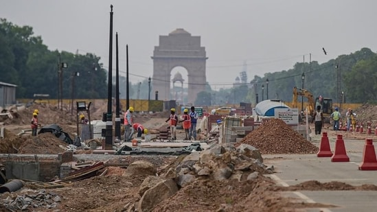 Construction work underway as part of the Central Vista project, at Rajpath in New Delhi. (PTI)