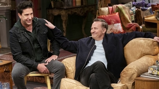 David Schwimmer and Matthew Perry in a still from Friends: The Reunion.