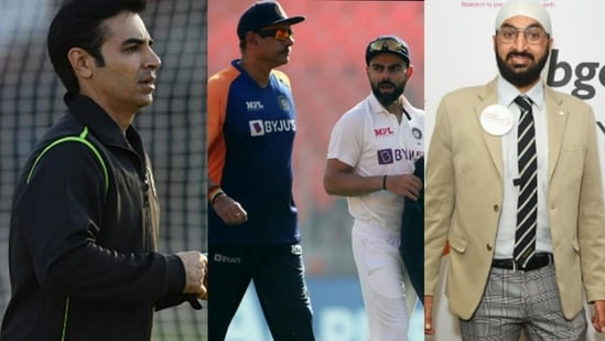 File Photos of Salman Butt (left), Monty Panesar (right) and Ravi Shastri and Virat Kohli.(HT Collage)
