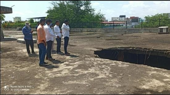 A slab on the reservoir at Janata Vasahat, that has a capacity of 35 million litres , collapsed on Sunday. (HT)