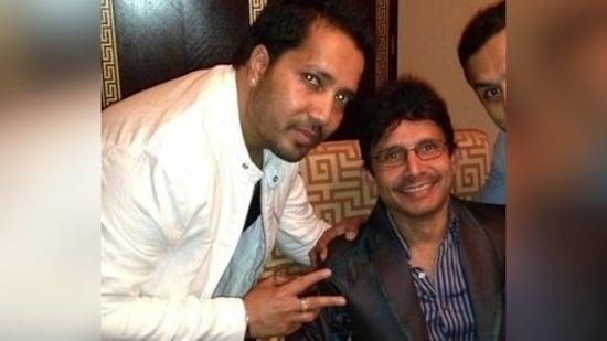 Kamaal R Khan poses with Mika Singh.