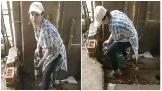 Shilpa Shinde shared a video of herself taking down a wall.