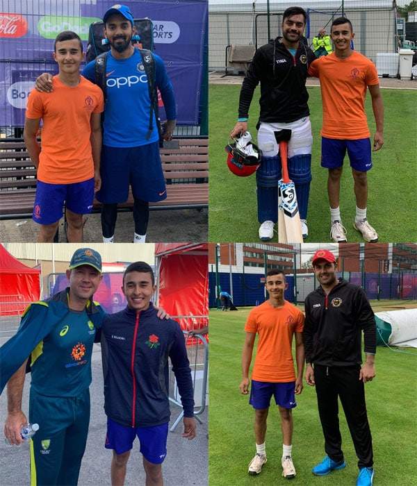 Praharsh Parikh with international cricketers.