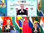 Foreign ministers of Brazil, Russia, India, China, and South Africa did a collective 'namaste' after the meeting of BRICS concluded, in New Delhi. (ANI Photo)