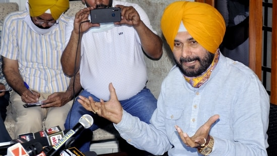 """Addressing the media in Patiala at his residence, Navjot Singh Sidhu questioned the timing of the letter and alleged that the Centre wanted to """"instigate"""" farmers and """"create a law and order situation"""" in the state.. (ANI Photo)"""