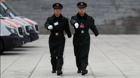 A file photo of soldiers of the People's Liberation Army (PLA) marching outside the Great Hall of the People in Beijing, China. (REUTERS)
