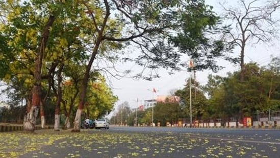 Empty road near Patna high court amid the lockdown imposed to curb the spread of Covid-19 in Bihar. (Photo by Santosh Kumar /Hindustan Times)