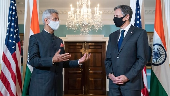 US Secretary of State Antony Blinken (R) and India's external affairs minister Subrahmanyam Jaishankar speak to the media ahead of their meeting at the State Department in Washington, DC, on Friday. (AP/file)