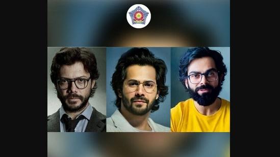 Mumbai Police took to Twitter to share the picture showcasing Virat Kohli, Varun Dhawan and Alvaro Morte aka The Professor from the series Money Heist.(Twitter/@MumbaiPolice)