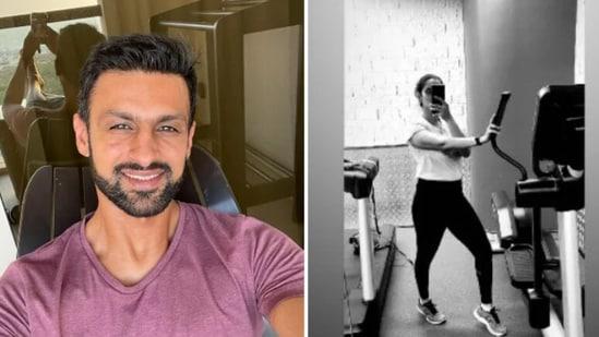 Photos of Shoaib Malik (left) and Sania Mirza working out.(Screengrab)
