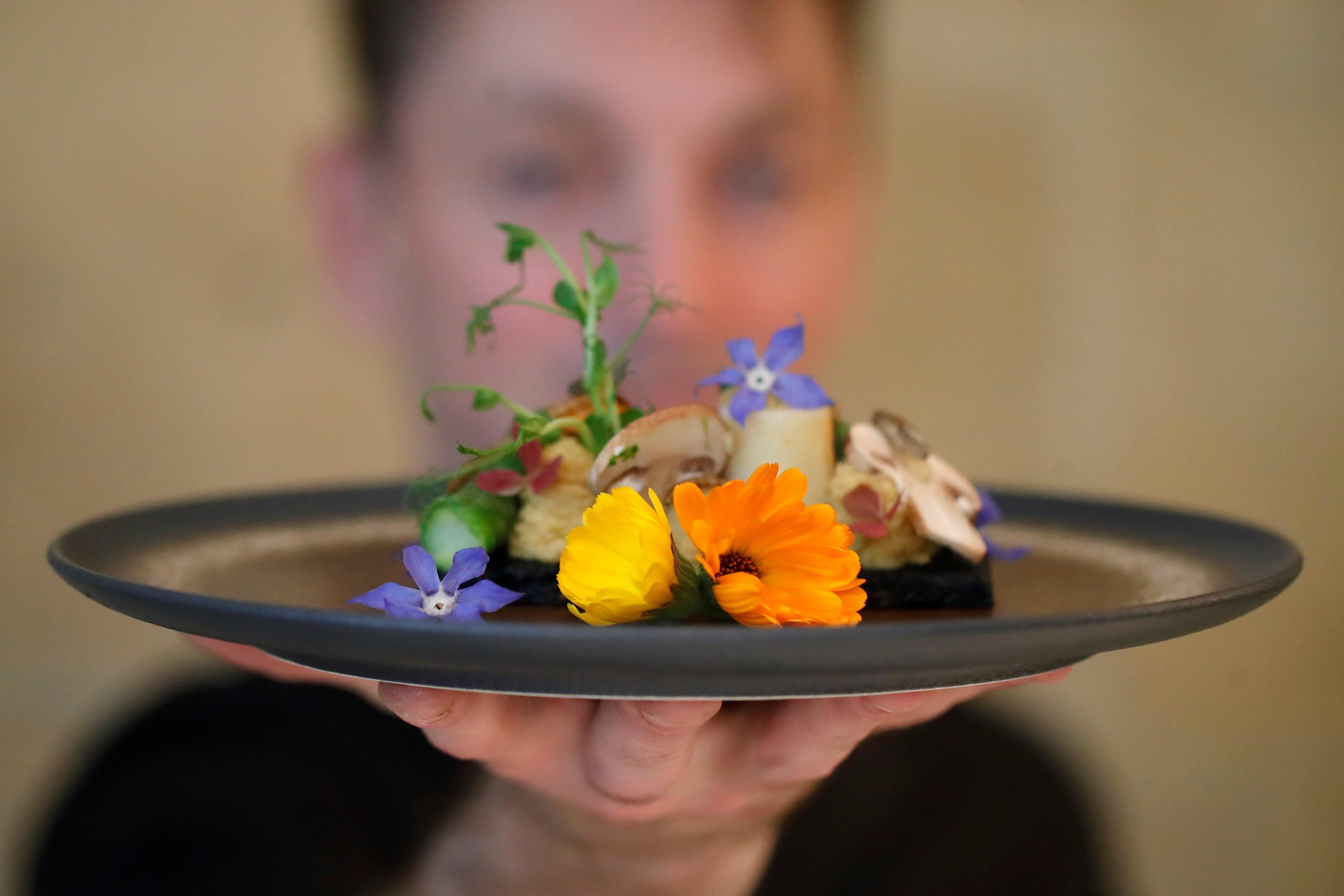 Koki Prancis Laurent Fett menampilkan piring saat dia berdiri di restorannya, Inoveat, menyajikan makanan berbasis serangga di Paris, Prancis (REUTERS)