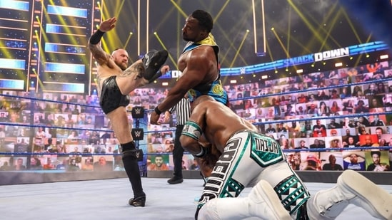 After being drafted to SmackDown in October, Black returned in the WWE Intercontinental Championship match between Apollo Crews, Big E, Kevin Owens, and Sami Zayn.(WWE)