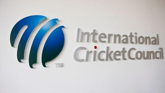 The International Cricket Council (ICC) logo at the ICC headquarters in Dubai, (REUTERS)