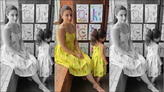 Soha Ali Khan-Inaaya twin and win our hearts in summery yellow strap dresses(Instagram/sakpataudi)