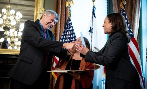 Dr. Eric Lander, Director of the Office of Science and Technology Policy (OSTP), is ceremonially sworn in by US Vice President Kamala Harris in Washington. (REUTERS)