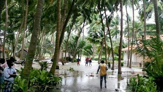 A view of a flooded locality in Lakshadweep following Cyclone Ockhi in 2017. (PTI File)