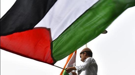 A boy waves a Palestine flag. (Sanchit Khanna/HT PHOTO)
