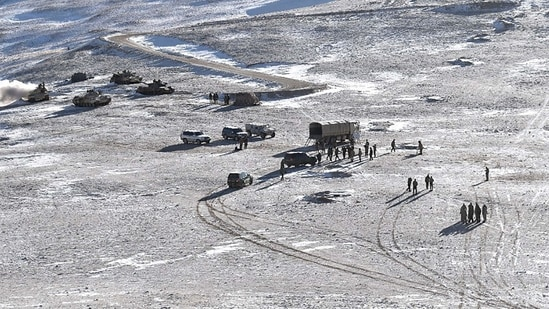 People Liberation Army (PLA) soldiers and tanks during military disengagement along the Line of Actual Control (LAC) at the India-China border in Ladakh seen in this file picture from Feb 2021. (AFP)